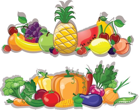 Photo for Cartoon vegetables and fruits, background  - Royalty Free Image