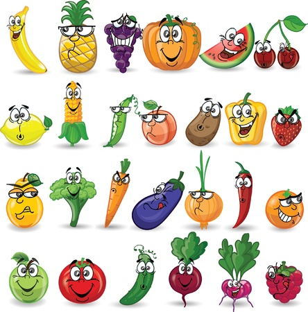 Foto für Cartoon vegetables and fruits  - Lizenzfreies Bild