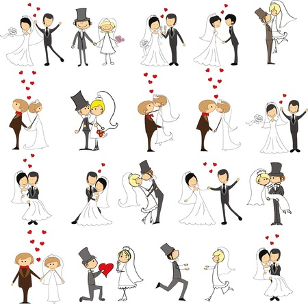 Photo pour Set of wedding doodle pictures, bride and groom in love, the vector - image libre de droit