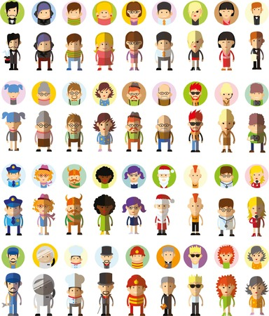 Illustration for Set of cute character avatar icons in flat design - Royalty Free Image