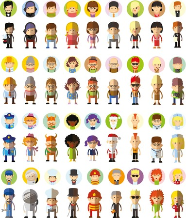Illustration for Set of vector cute character avatar icons in flat design - Royalty Free Image