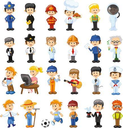 Illustration pour Cartoon vector characters of different professions - image libre de droit