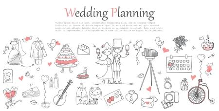 Photo pour Doodle line design of web banner template - image libre de droit