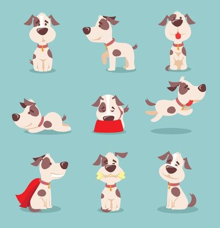 Ilustración de Vector illustration of cute and funny cartoon little dogs-pupies - Imagen libre de derechos