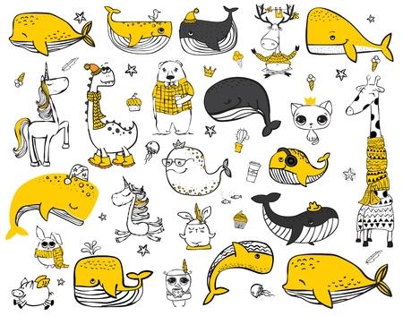 Ilustración de Vector set of cute doodle hipster animals. - Imagen libre de derechos