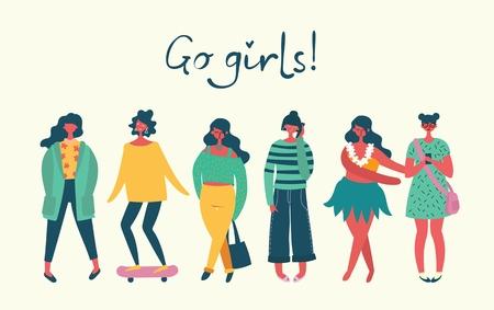 Illustrazione per Go girls. Vector illustration - Immagini Royalty Free