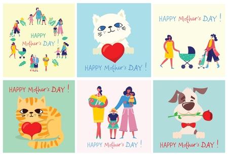Illustrazione per Colorful vector illustration of Happy Mother's Day. - Immagini Royalty Free