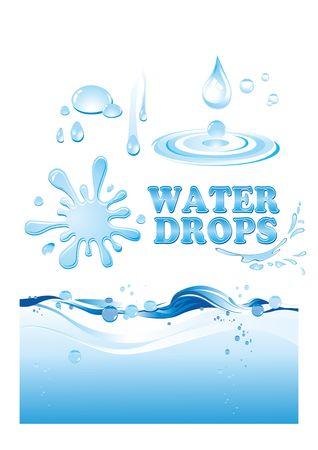 Ilustración de Splatter, splash of a wave of drops of pure water - Imagen libre de derechos