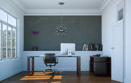 Photo for Modern home office interior design 3d Rendering mockup - Royalty Free Image