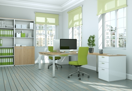 Photo for Modern green home office interior design 3d Rendering mock up - Royalty Free Image