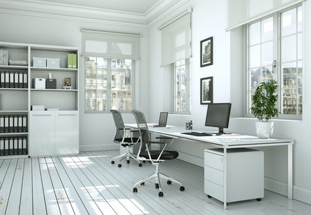Photo for Modern white home office interior design 3d Rendering mockup - Royalty Free Image