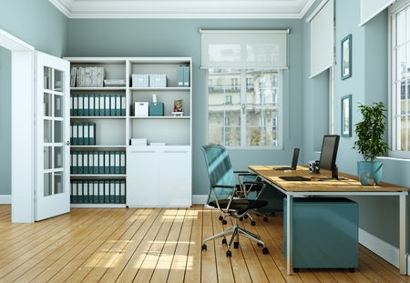 Photo for Modern white home office with blue chairs interior design 3d Rendering mockup - Royalty Free Image