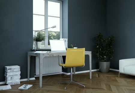 Photo for Vintage dark wall home office interior design 3d Rendering mockup - Royalty Free Image