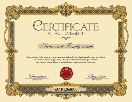 Illustration pour Vintage Ornament frame Certificate of Achievement Gold - image libre de droit