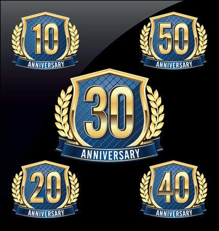 Illustration for Gold and Blue Anniversary Badge 10th, 20th, 30th, 40th, 50th Years - Royalty Free Image
