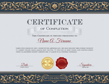 Illustration pour Vintage Certificate of Completion. Royal Dark Blue and Gold Ornaments - image libre de droit