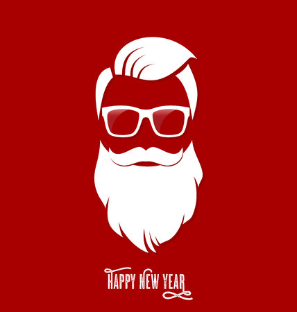 Illustration pour Hipster Santa Claus, Party, Greeting Card, Banner, Sticker, Hipster Style. Hipster Haircut. - image libre de droit