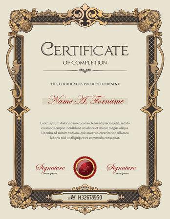 Illustration pour Certificate of Completion Portrait with Antique Vintage Ornament Frame - image libre de droit