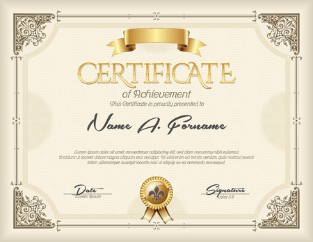 Illustration pour Certificate of Achievement Vintage Gold Frame Beige - image libre de droit