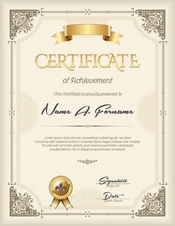 Illustration pour Certificate of Achievement Vintage  Frame Beige Portrait - image libre de droit