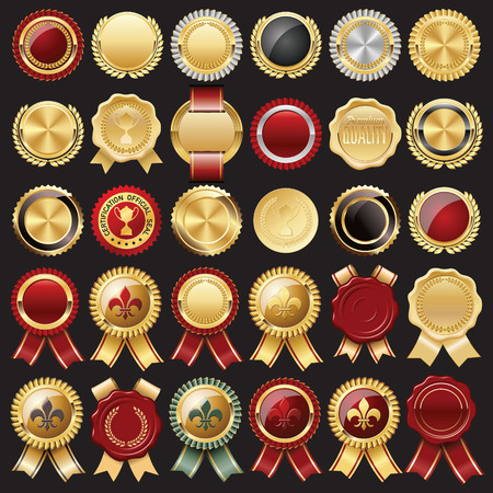 Illustration for Set of Certificate Wax Seal and Badges - Royalty Free Image