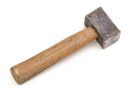Foto de Close up of a heavily used old hammer isolated on white. - Imagen libre de derechos