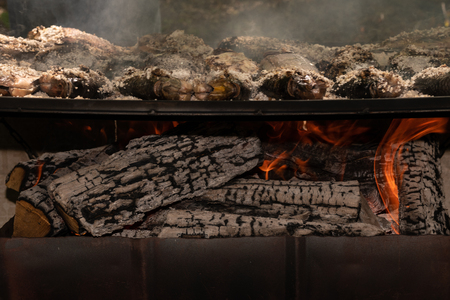 Photo pour Salt crusted Tilapia fish cooked on wood grill with focus on logs burning underneath. - image libre de droit