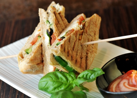 Photo for Healthy veggie panini sandwiches, Freshly grilled panini with olives, basil leaves, fresh red and green peppers, tomatoes, and mozzarella cheese served on ciabatta bread with cream ketchup sauce  - Royalty Free Image
