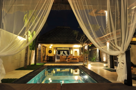 Photo for Modern tropical villa with swimming pool in nature  - Royalty Free Image