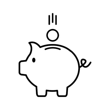 Piggy bank icon vector illustration isolated on white background. Saving flat pig stock illustration outline silhouette