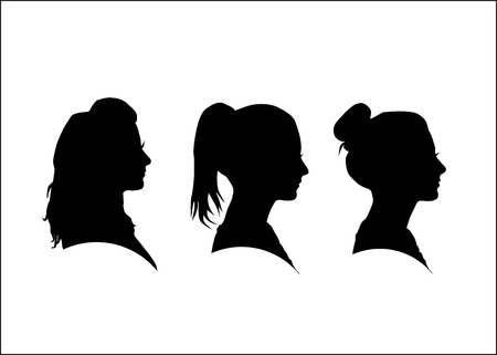 Illustration pour Silhouette of the girl in profile - image libre de droit