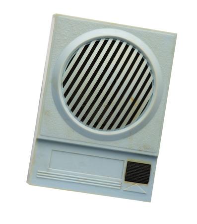 Foto de blue  retro radio isolated on white background .vintage radio front top view - Imagen libre de derechos
