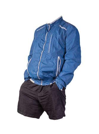 mens blue white jacket and black sports shorts isolated on white background. fashionable casual wear