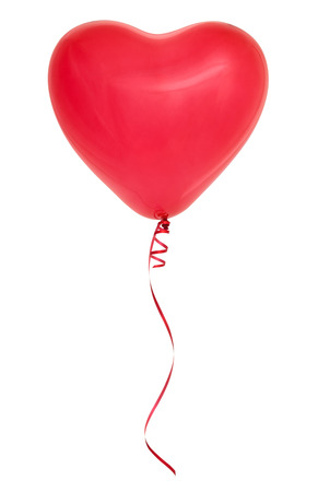 Photo pour Red heart-shaped balloon isolated on white background. - image libre de droit