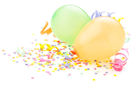 Photo for Birthday arrangement. Balloons and confetti isolated on white. - Royalty Free Image