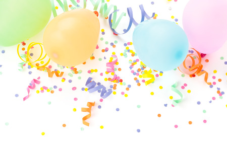 Photo for Balloons, streamers  and confetti isolated on white background. - Royalty Free Image