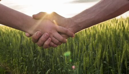 Photo pour Handshake two farmer on the background of a wheat field with sun glare - image libre de droit