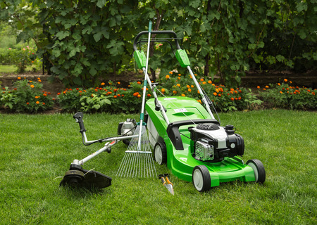 Foto de Green lawnmower, weed trimmer, rake and secateurs in the garden. - Imagen libre de derechos