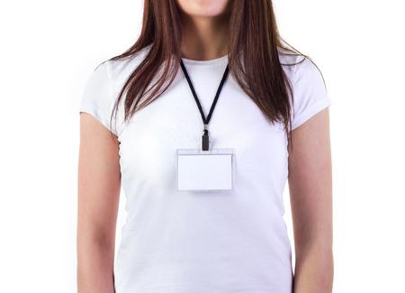 Foto de Girl in white t-shirt with badge mock-up isolated on white - Imagen libre de derechos