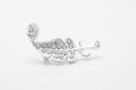 Photo pour silver brooch feather with diamonds isolated on white - image libre de droit