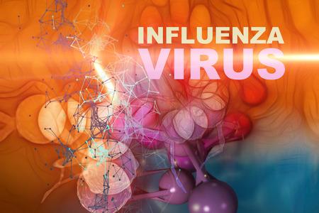 Foto de Illustration of Influenza Virus cells - High Quality 3D Render - Imagen libre de derechos