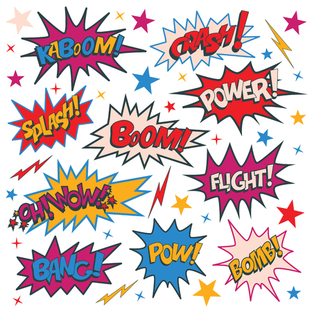 Ilustración de Funny cartoon superhero elements: kaboom, crash, power, splash, boom, wow, flight, bomb, pow, bang. - Imagen libre de derechos