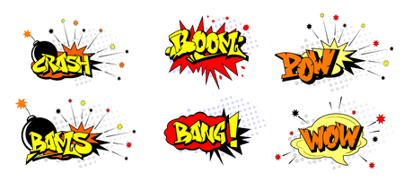 Ilustración de Pop art cartoon elements typography includes crash, boom, pow, bang, wow, bams. - Imagen libre de derechos