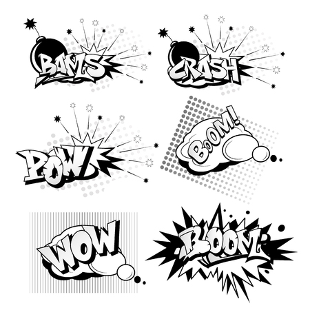 Ilustración de Cartoon pop art elements includes crash, boom, wow, bams, pow in black and white illustration. - Imagen libre de derechos
