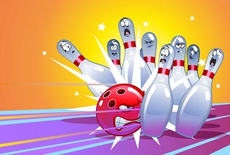 Ilustración de Funny Cartoon Bowling - Imagen libre de derechos