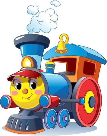 Ilustración de Funny multicolored locomotive, train. Toy train. Vector illustration - Imagen libre de derechos