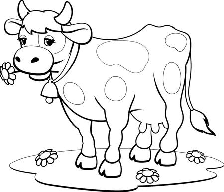 Illustration pour Cow coloring pages - image libre de droit