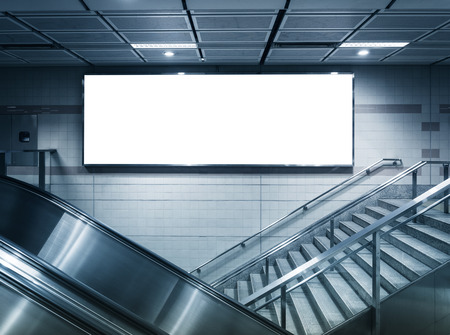 Foto de Mock up Horizontal banner commercial sign in subway station - Imagen libre de derechos
