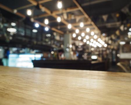 Foto de Top of table with Bar Cafe Restaurant blurred background - Imagen libre de derechos