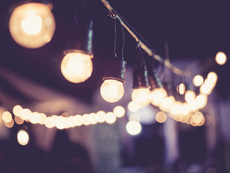 Foto per Lights decoration Event Festival outdoor Vintage tone - Immagine Royalty Free